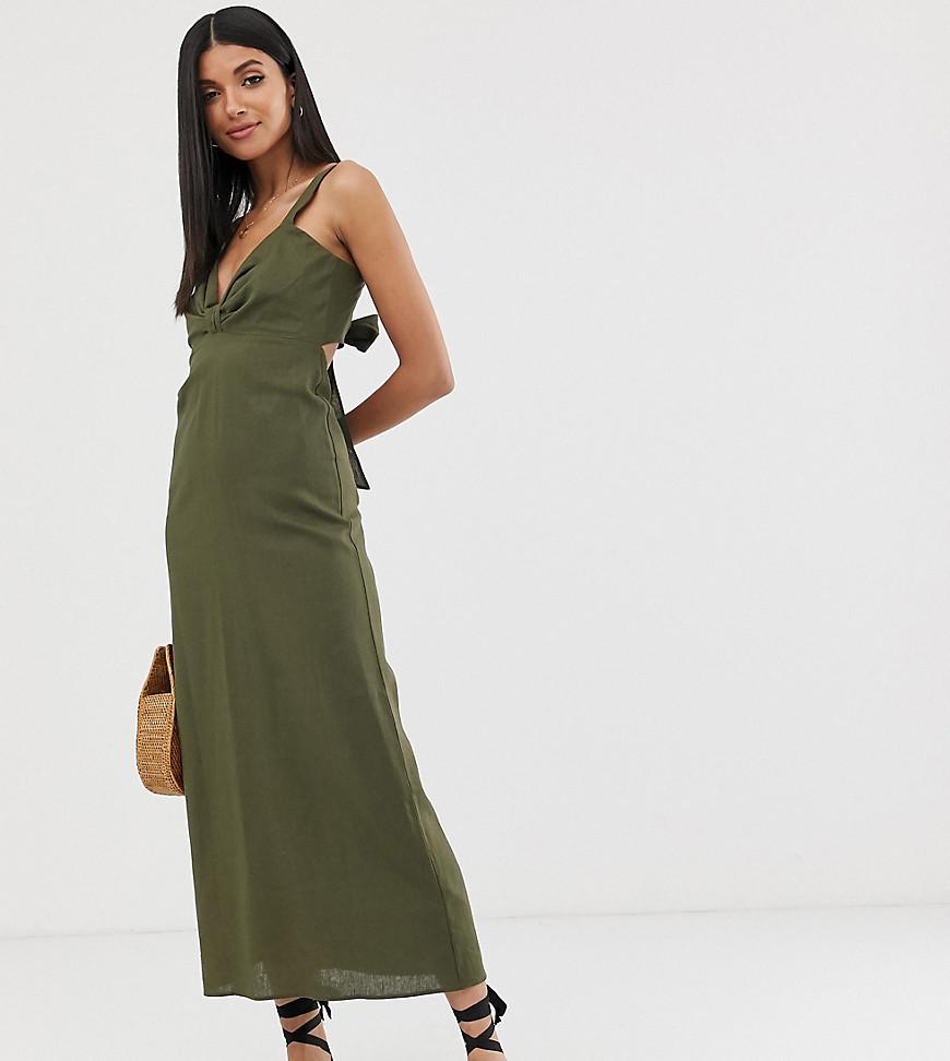 asos design lange jurk met geknoopte voorkant en